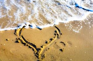 sand heart at the beach